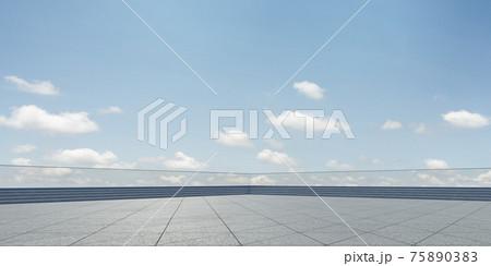 Empty triangle shape stone tiles floor 75890383
