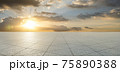 Empty triangle shape stone tiles floor 75890388
