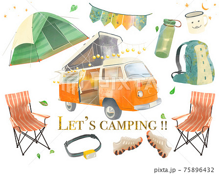 白バックのおしゃれなキャンプのアウトドアグッツとキャンピングカーのイラスト 75896432