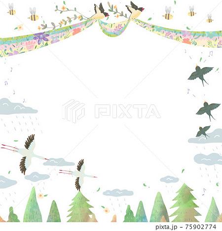 北欧風オシャレな空の風景と鳥たちの白バックの動物フレームイラスト 75902774