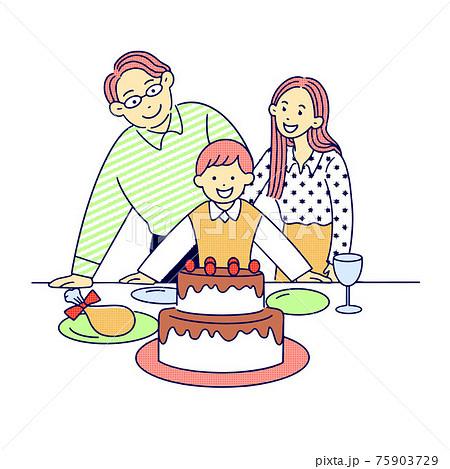 誕生日をケーキとチキンで祝う、幸せな家族、男の子と父と母 75903729