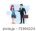 Man and woman with briefcase shake hand 75904224