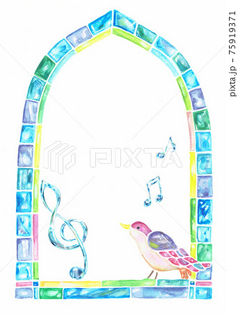 ガラスのフレーム ガラスの音符 ガラスのト音記号 鳥  75919371