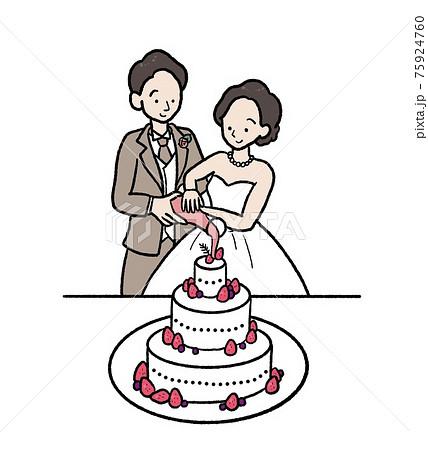 結婚式でカラードリップをするイラスト 75924760