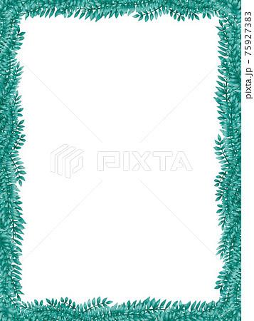 青緑の葉が生い茂るフレーム背景 縦 75927383