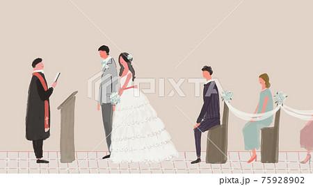 結婚式、参列するゲスト、神父、司祭、新郎新婦、ウエディング、誓いの言葉、人物  75928902