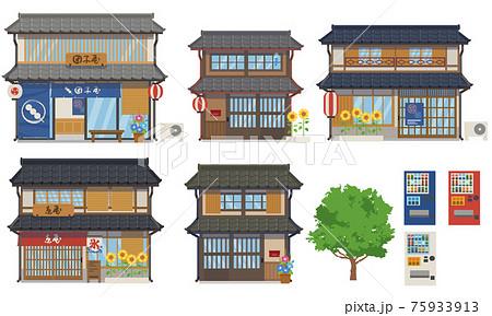 夏の日本家屋と店のセットのベクターイラスト 75933913