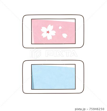 スマホ 2台 桜の花 75946250