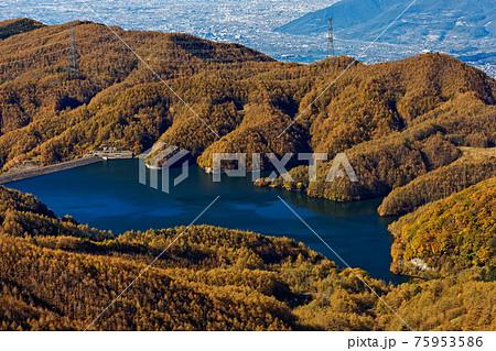 大菩薩連嶺・天狗棚山から見る大菩薩湖 75953586