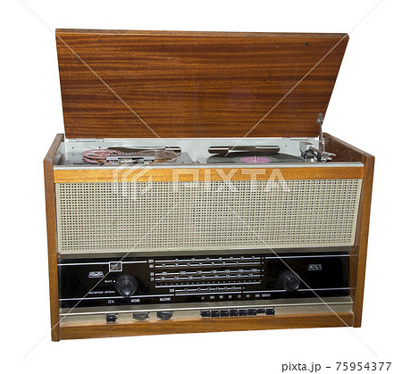 Ancient radio receiver-is isolated on the white 75954377