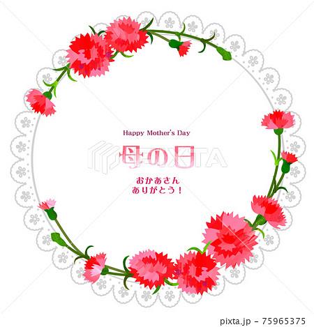母の日円形フレーム カーネーション 75965375
