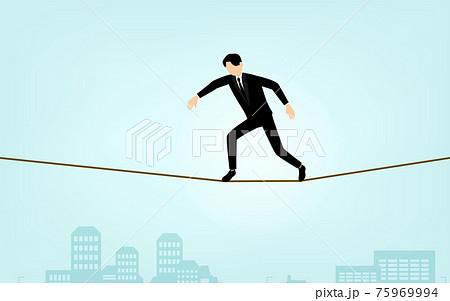 綱渡りビジネスマン、ビジネスシーンのイメージ、アイソメトリック 75969994