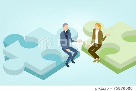 ジグソーパズルとビジネスマン、企業戦略のイメージ、アイソメトリック 75970006