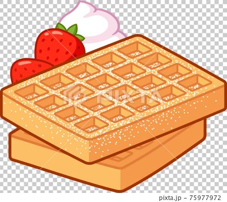 Cartoon Belgian waffles drawing 75977972