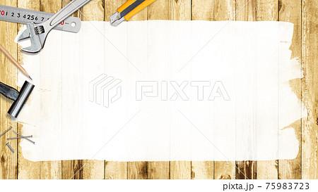 工具と木目の背景素材 - 複数のバリエーションがあります 75983723