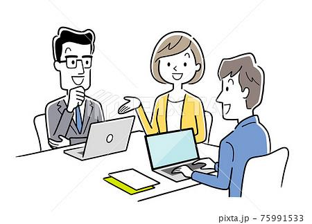 ベクターイラスト素材:打ち合わせをするチーム、ビジネスシーン 75991533