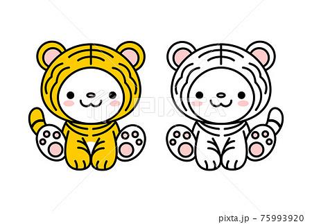 年賀状素材 可愛い寅の着ぐるみを着ている猫ちゃんのイラスト セット ベクター 75993920