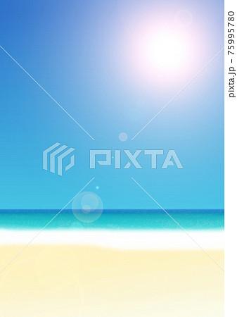 空と海と砂浜のビーチの風景イラスト no.06 75995780