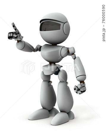 選択して、指差す人工知能のロボット。認知機能。白バック。3Dレンダリング。 76000590