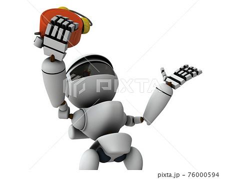 遅刻に気づいて慌てる人工知能のロボット。白バック。3Dレンダリング。 76000594