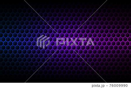 Hexagon purple background. Gradient cells texture. Futuristic color wallpaper. Modern neon design. Abstract geometric backdrop. Vector illustration 76009990