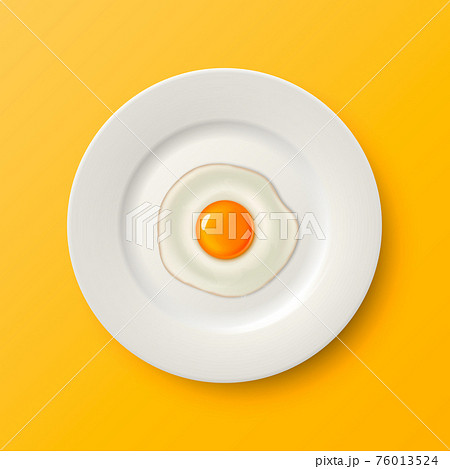 Vector 3d Realistic White Porcelain, Ceramic Plate and Fried Egg, Omelette Closeup on Yellow Background. Design Template for Mockup. Stock Vector Illustration. Top View 76013524