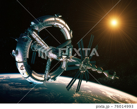 New Futuristic Space Station Orbiting Planet Earth 76014993