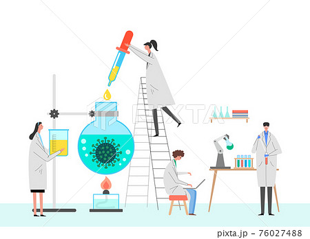 Medical vaccine research concept. scientists in laboratory, chemical researchers with lab equipment illustration 003 76027488
