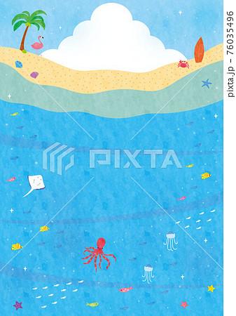 夏の素材2021(海中&ビーチ)文字なしテク 76035496