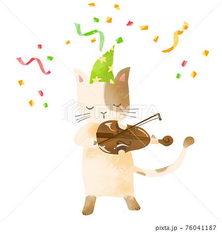 音楽を演奏する動物 猫、バイオリン 76041187