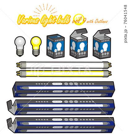 電球(ミニ球、蛍光灯)とパッケージの外線ありイラスト 76041548
