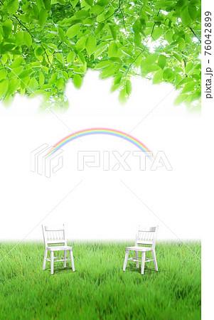木漏れ日の下の椅子 76042899