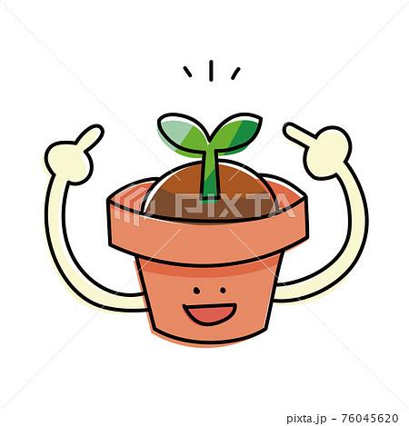 鉢植えと芽のシンプルイラスト 発芽とプランター 76045620