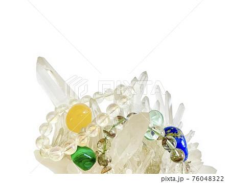 水晶 ガーデンクオーツブレス ラピスラズリ グリーンオブシディアン オレンジカルサイト マラカイト 76048322