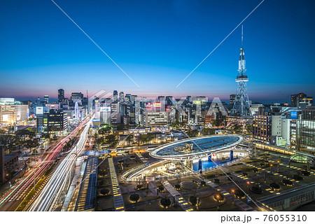 愛知県 名古屋都市風景 栄の夜景 76055310