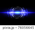 abstract futuristic technology with line wave and lighting on dark blue background. Illustration Vector design technology concept 76056645