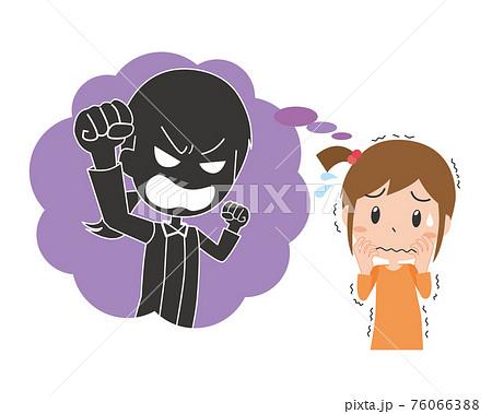 怯える女の子と怒る母親 76066388