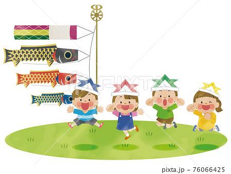 こどもの日に鯉のぼりの前でジャンプする子供たち 水彩 76066425