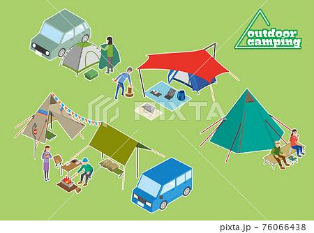 アウトドアキャンプのセットイラスト 76066438