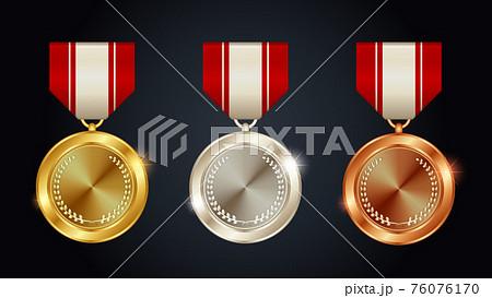 金メダル 銀メダル 銅メダルのベクターイラストセット 76076170