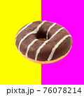 Donut isolated over pink and yellow background 76078214