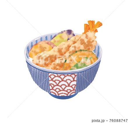 リアルで美味しそうな天丼のイラストレーション 76088747
