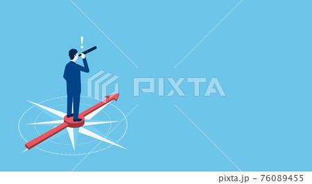 望遠鏡をのぞくビジネスマン、羅針盤と矢印の背景、ベクターイラストレーション 76089455