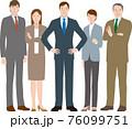 ビジネスマンとビジネスウーマンのやる気のあるチーム ベクター素材 76099751