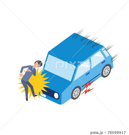 車と男性がぶつかる交通事故のイラスト 76099917