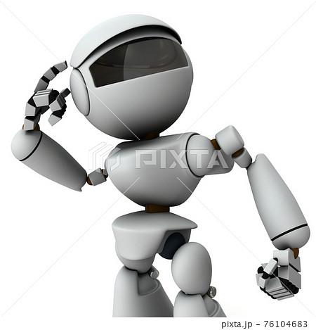 高性能な判断能力を備えた人工知能のロボット。白バック。3Dレンダリング。 76104683