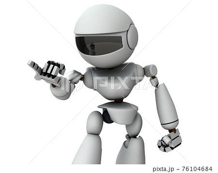 相手を詰問する人工知能のロボット。白バック。3Dレンダリング。 76104684