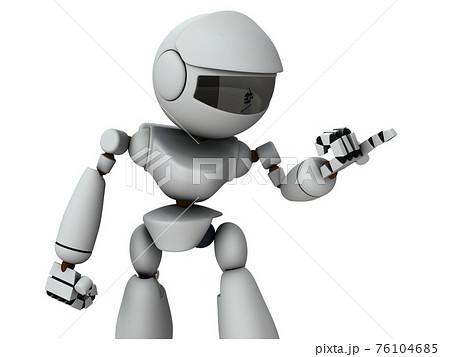 相手を詰問する人工知能のロボット。白バック。3Dレンダリング。 76104685