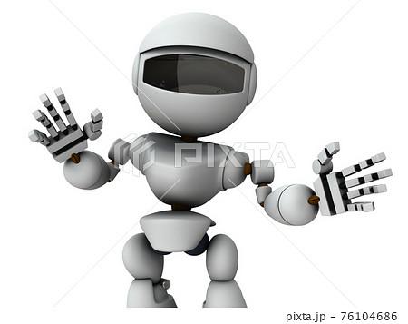 親切に話しかける人工知能のロボット。3Dレンダリング。白バック。 76104686