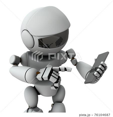 スマートフォンを操作する人工知能のロボット。ネットショッピング。3Dレンダリング。白バック。 76104687